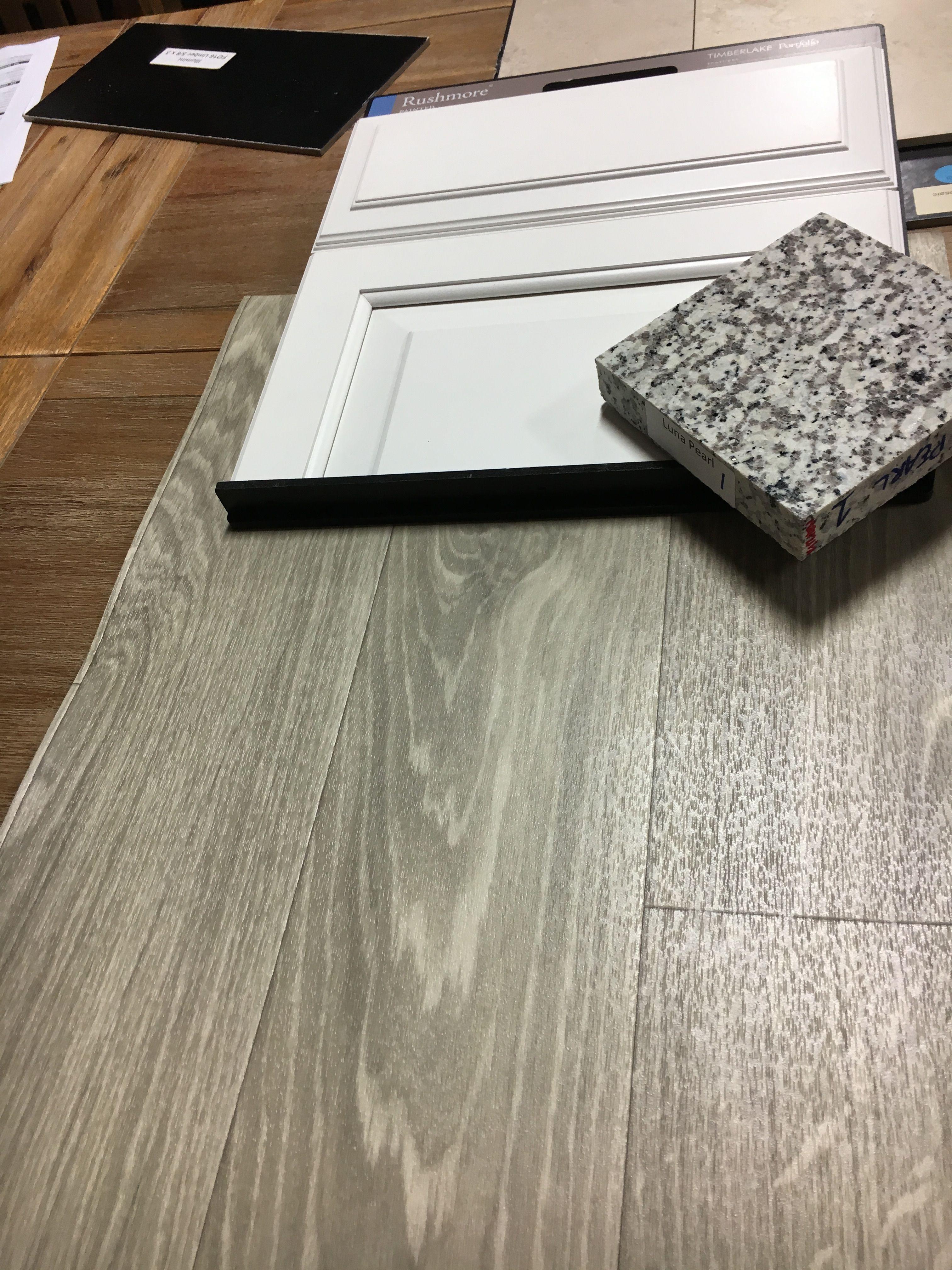 Luna Pearl Granite White Cabinets And Station Square