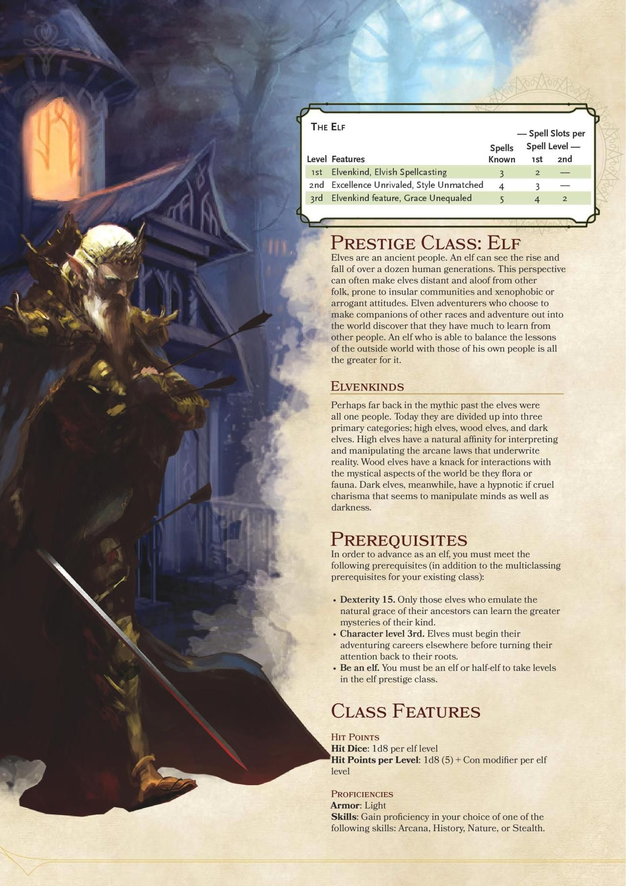 DnD 5e Homebrew — Elf Prestige Class by coolgamertagbro | D&D | Dnd
