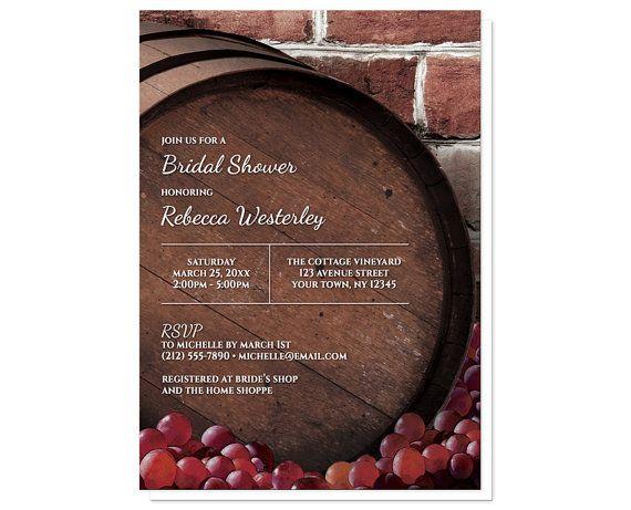 Rustic Wine Barrel Vineyard Bridal Shower invitations by ArtisticallyInvited