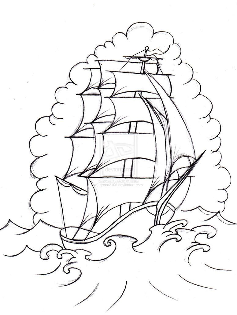 Line Art Tattoos : Old school boat by green on deviantart meart