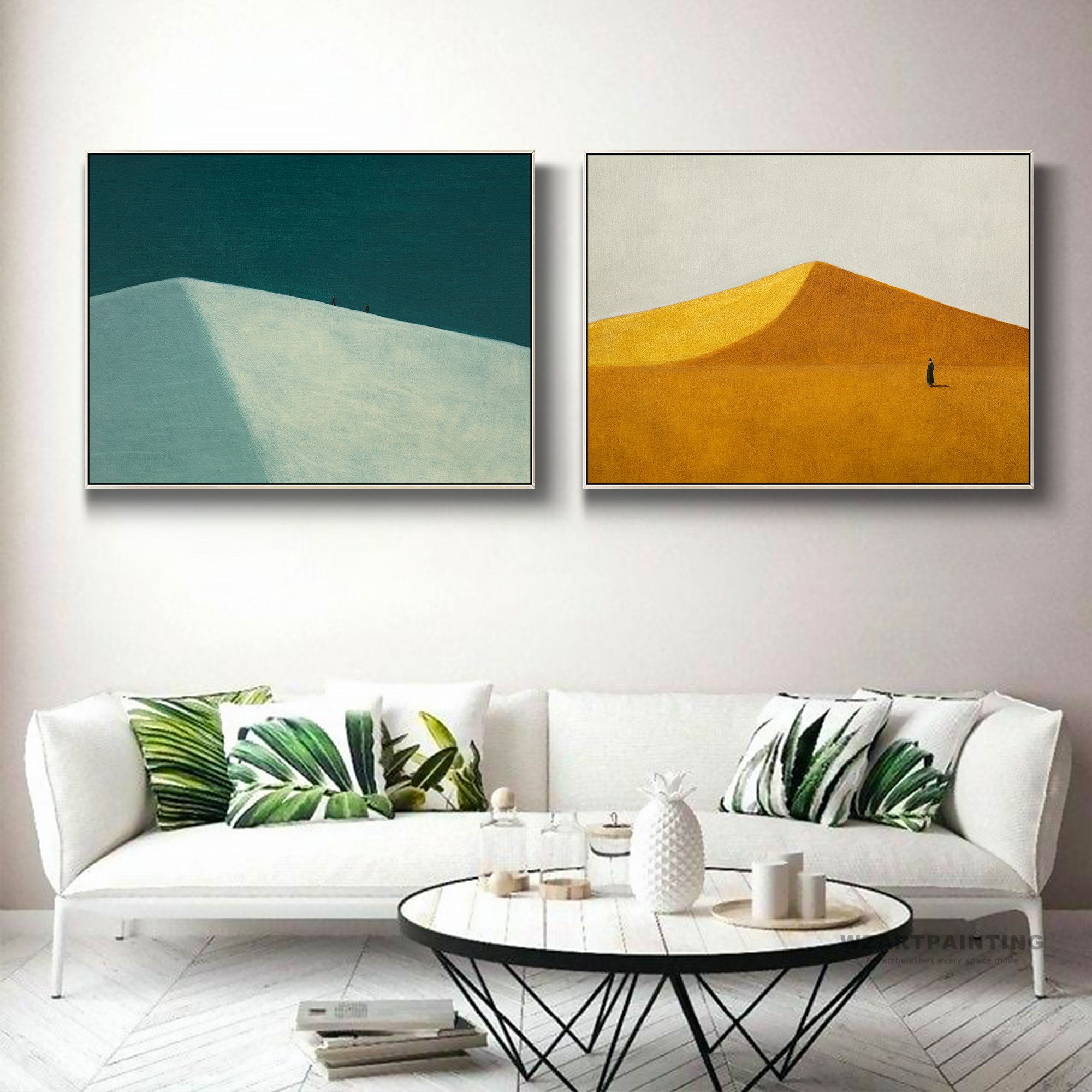 Framed Wall Art Set Of 2 Abstract Dark Green Yellow Desert Etsy Framed Wall Art Sets Frames On Wall Wall Art Sets