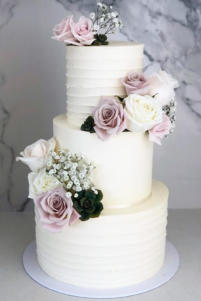 buttercream wedding cakes classic high white with purple roses and baby … – Wedding Cakes – #BabyAt #Buttercream #Cakes #high