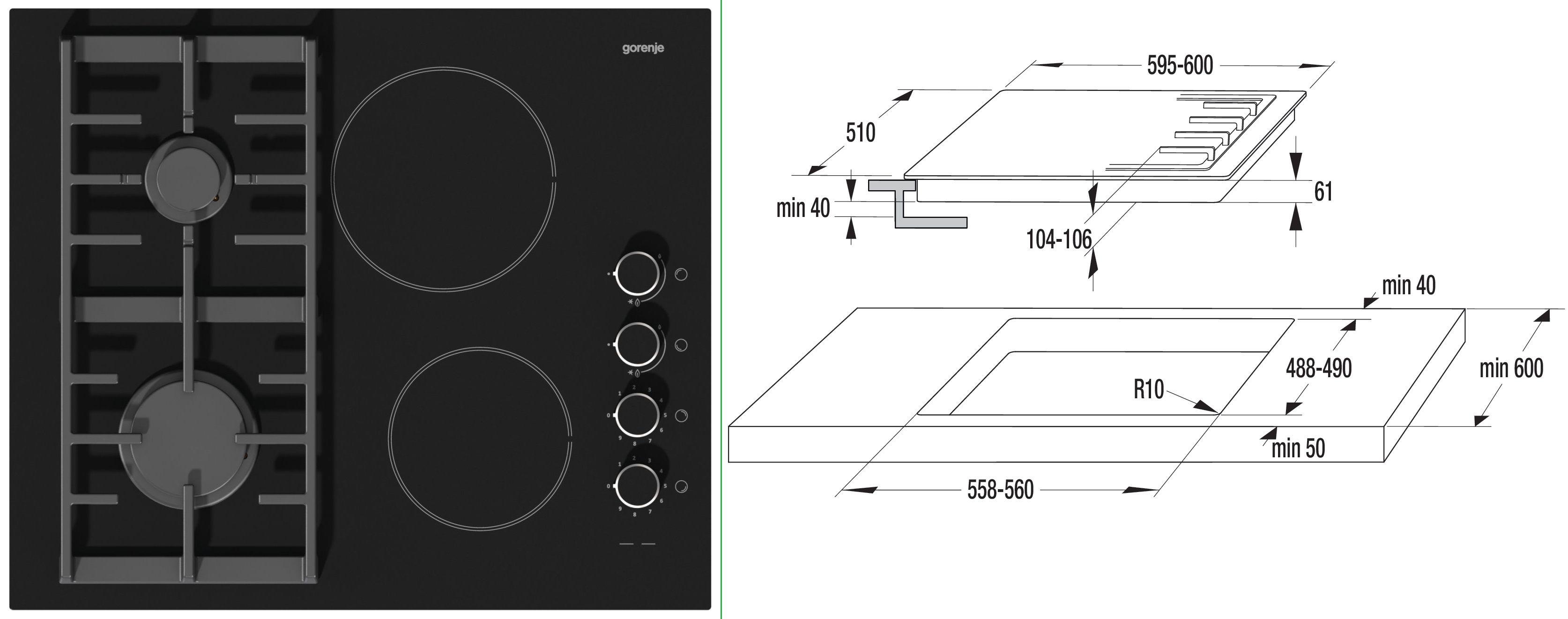 Варочная поверхность комбинированная GORENJE KC 621 USC - Zp-Tehnika.com.ua™: купить видео и бытовую технику в Запорожье