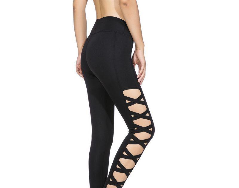 9ef302e744b Discount !! AO SHENG Latest Activewear Cross Women Leggings Black Cut Out  Sexy Leggings High Waist Hollow Fitness Legging America Order