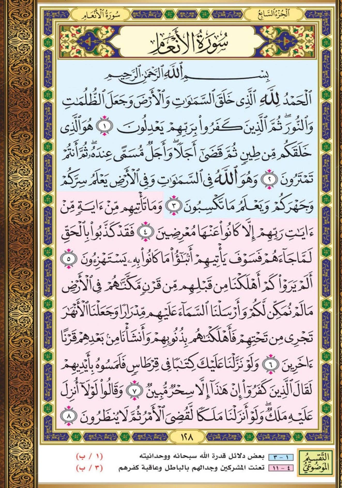 ١ ٨ الأنعام مصحف التقسيم الموضوعي Holy Quran Book Quran Book Quran Verses
