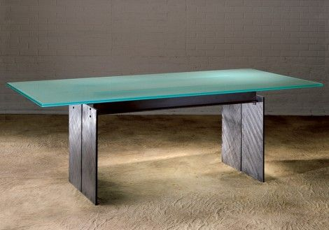 Steel and Frosted Glass top Dining Tables for modern dining room table applications with Stone or Glass tops