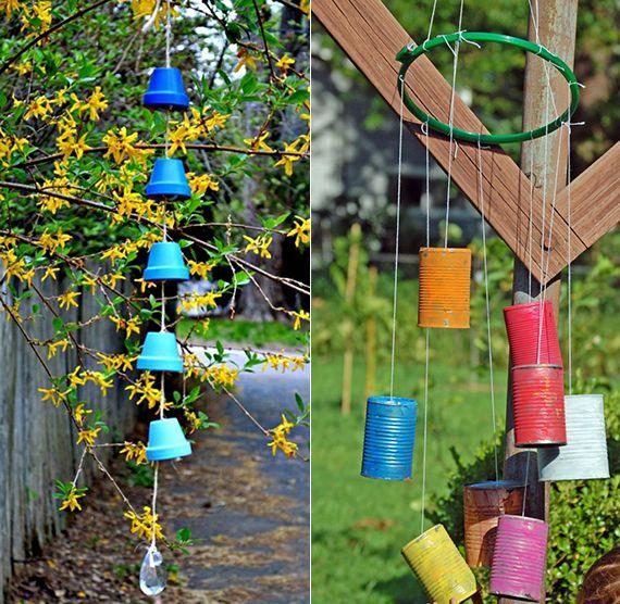 Windspiel im Garten aus Galsstücken und Glasperlen selber machen - gartenaccessoires selber machen