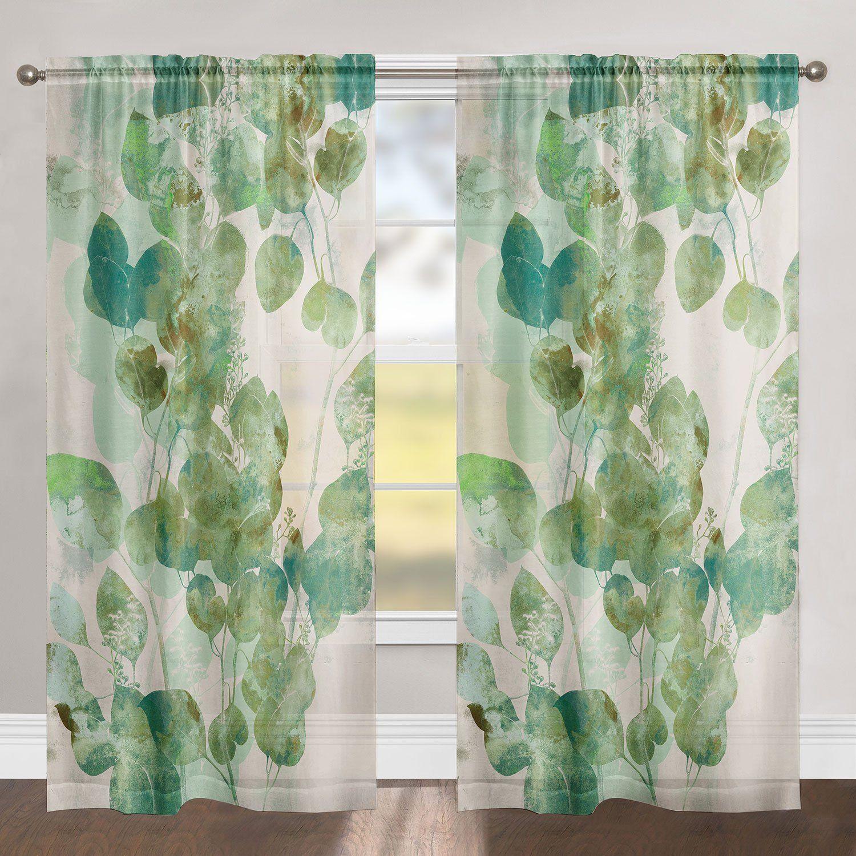 Green Watercolor Eucalyptus Leaves Sheer Window Panel Sheer
