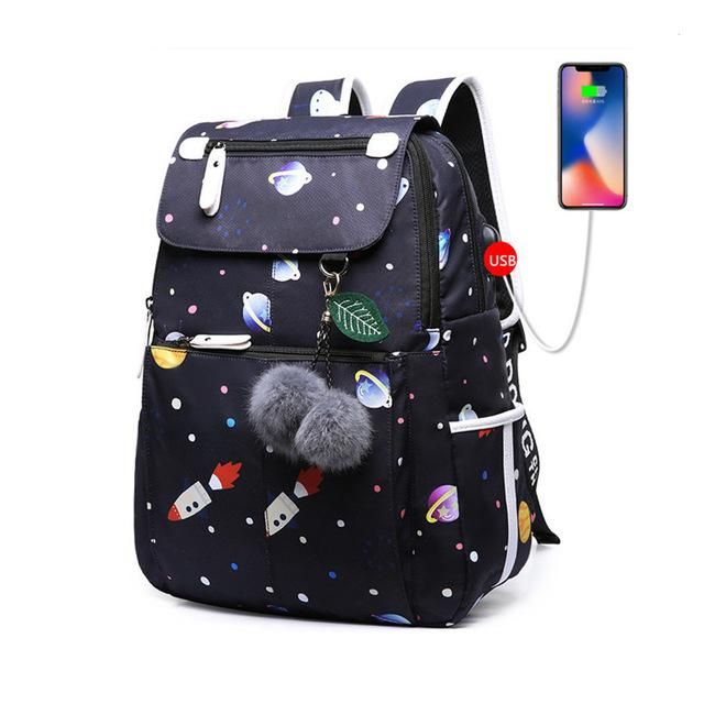 Fashion School Usb Butterfly Decoration Backpack in 2019  4b84261782058