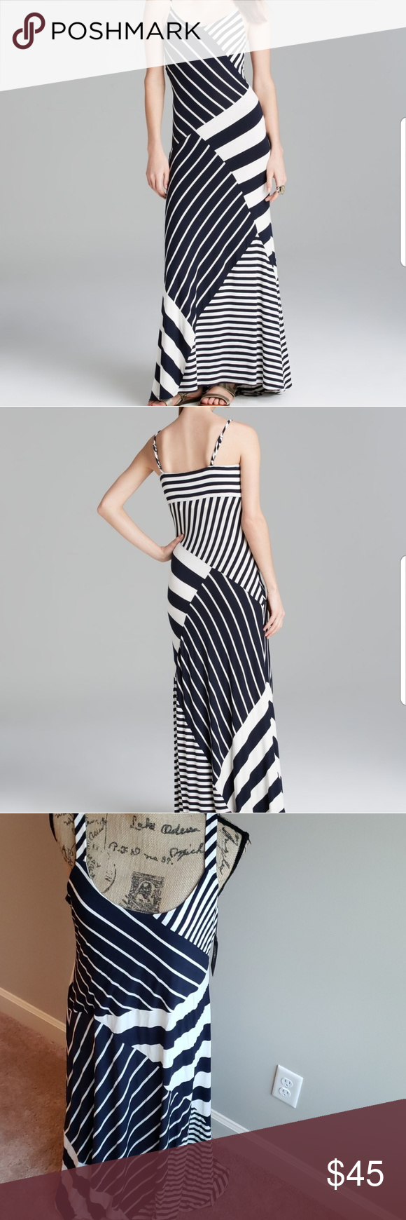 Vince Camuto Blue And White Maxi Dress White Maxi Dresses Clothes Design White Maxi [ 1740 x 580 Pixel ]