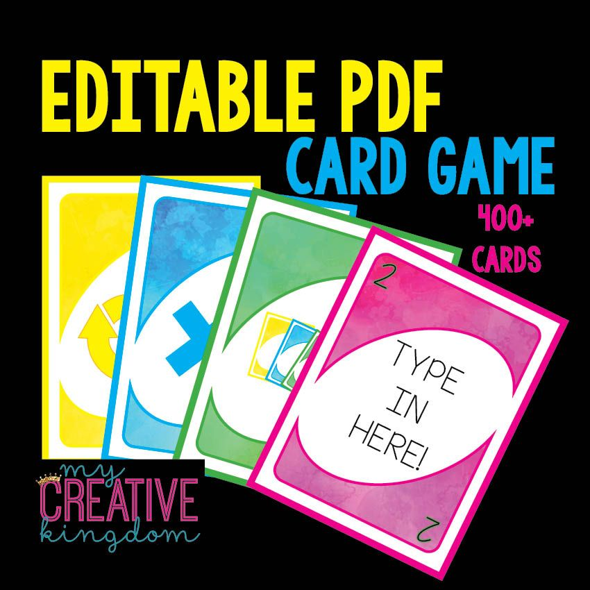 Uno Card Game Editable Pdf And Endless Differentiation And Imagination Uno Cards Card Games Diy Uno Cards