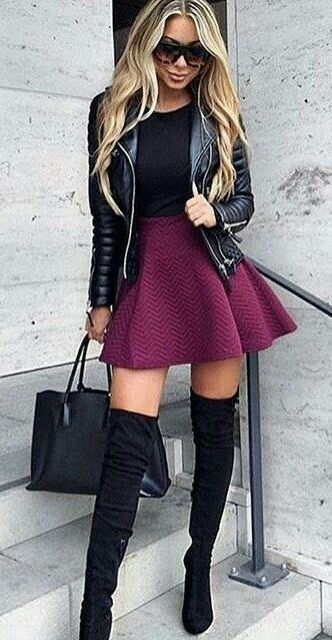 Purple Dress Women Knee High Boots