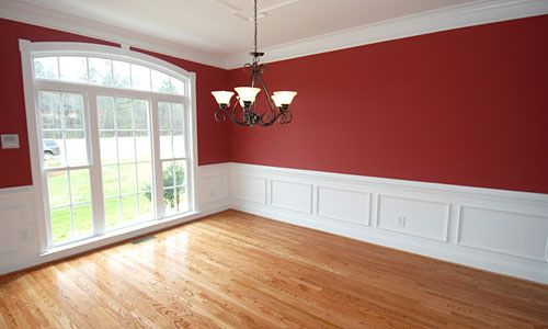 Ooo I Like The Wainscoting Idea Or Even White Trim At The Bottom Of My  Walls.the Tile Floors That Go Up Onto My Walls As Trim Drive Me Bonkers.Red  Dining ...