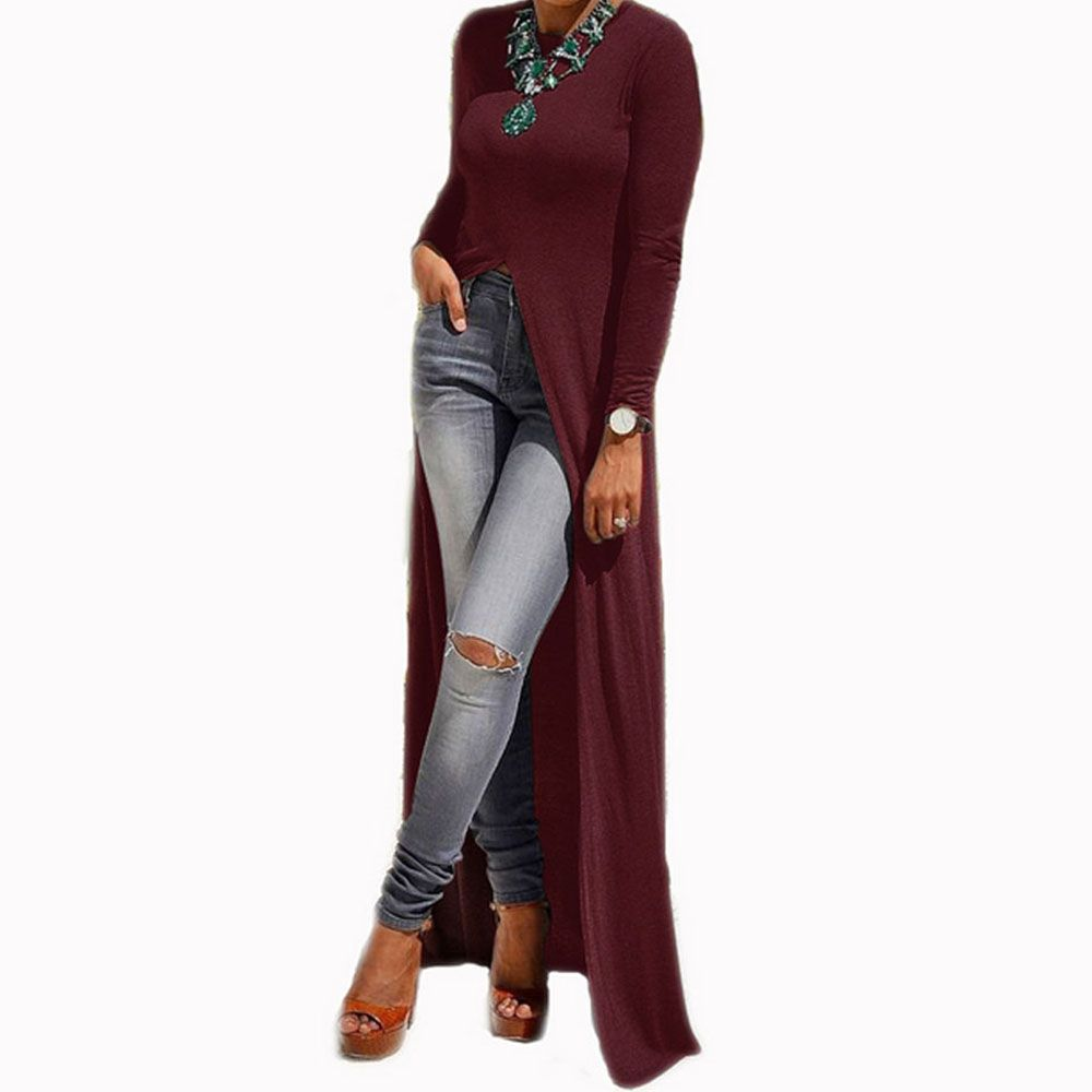 Preself split knitted maxi dresses long sleeve casual t shirt wrap