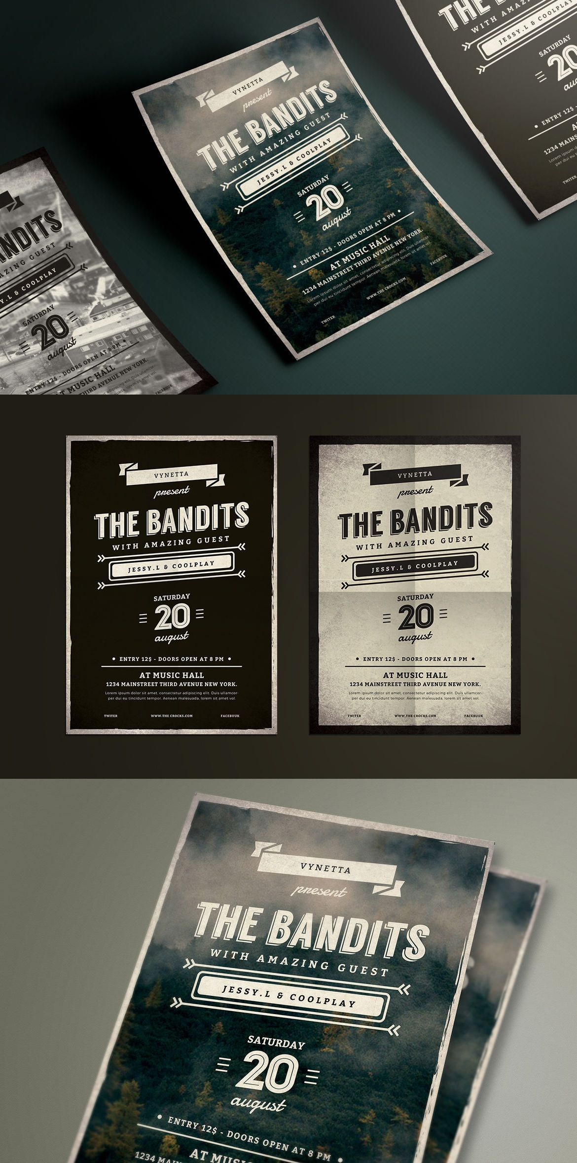 Vintage Typography Music Poster Flyer Template Psd