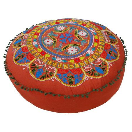Embroidered cotton floor cushion with a medallion design in orange, blue, and yellow.   Product: Floor cushionConstruction...