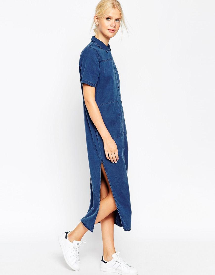 80603b27d28 ASOS Denim Longline T-Shirt Dress With Split