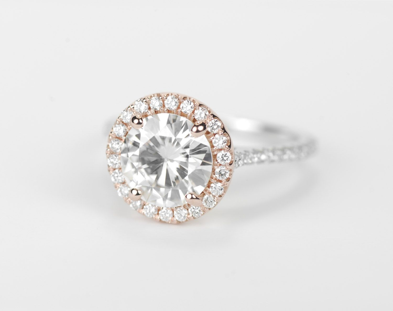Certified  Two  Tone Round Forever Brilliant Moissanite Diamond Halo Engagement  Ring  14k Rose And White Gold