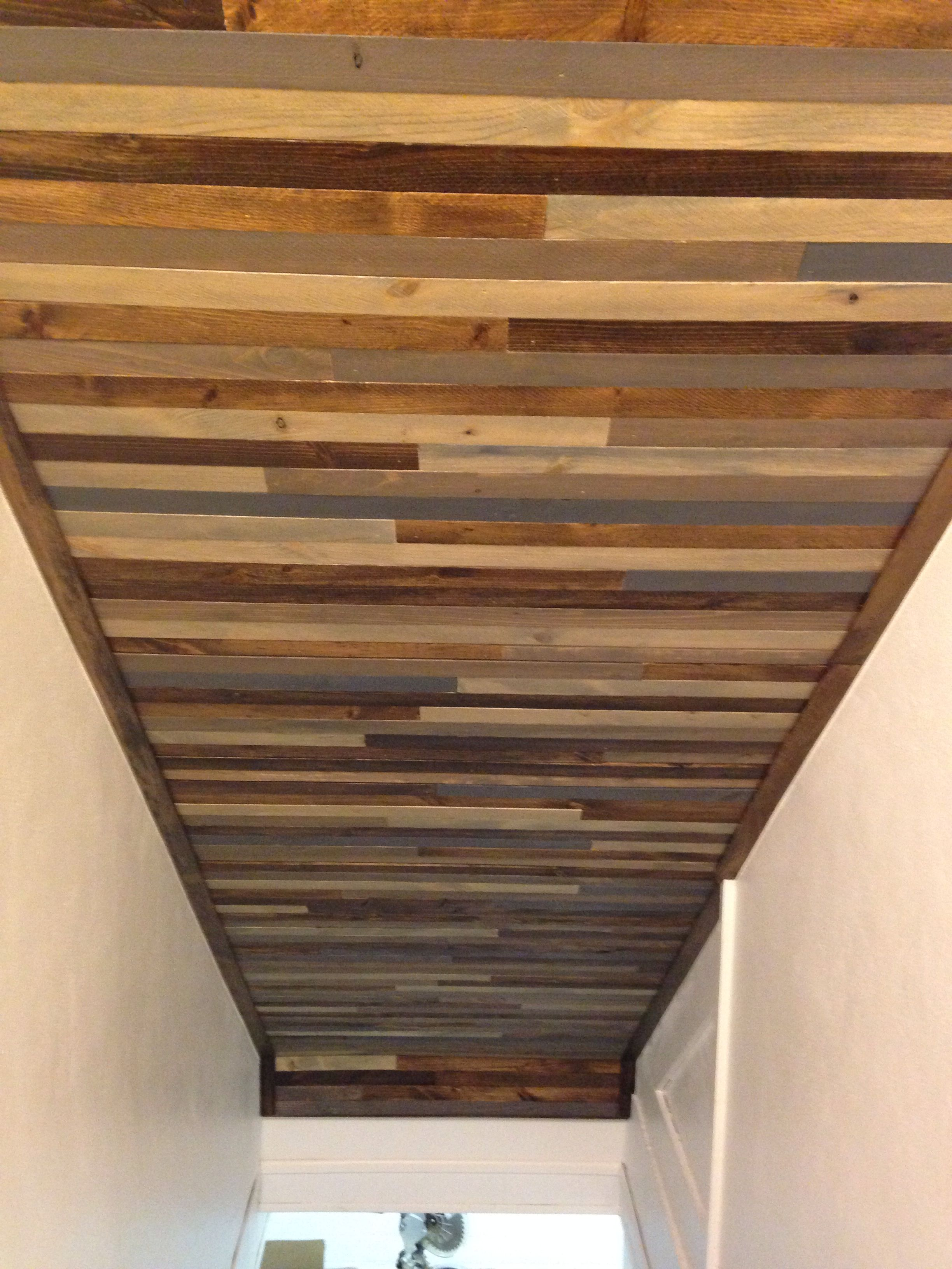 Ceiling Above Basement Stairs Used Wood Lath Strips To