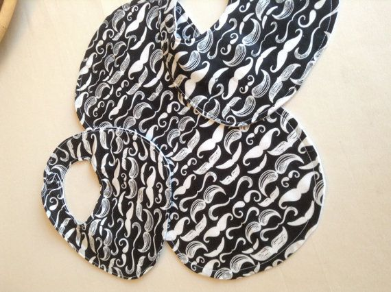 Mustache baby burp cloth and bibs set for by DazzlingCinsations, $12.00