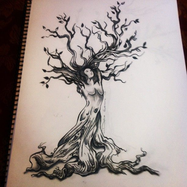 dessin tatouage symboles arbre avec femme. Black Bedroom Furniture Sets. Home Design Ideas