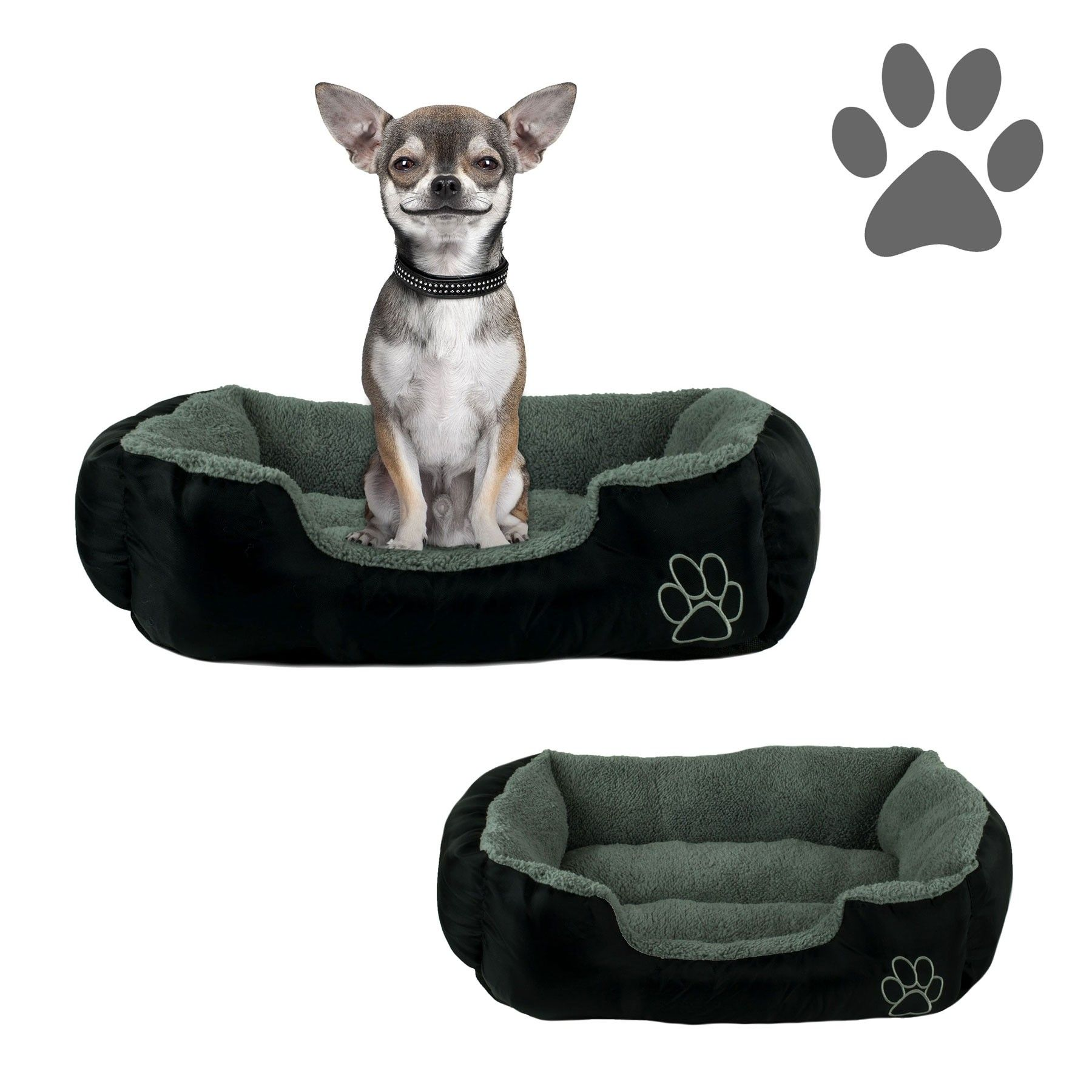 Pamper Your Pet With This Plush Cuddler Pet Bed From Beatrice In Black And Gray The Outer Dimensions Of This Bed Are 22 X 18 Inches M Pets Small Dogs Pet Beds