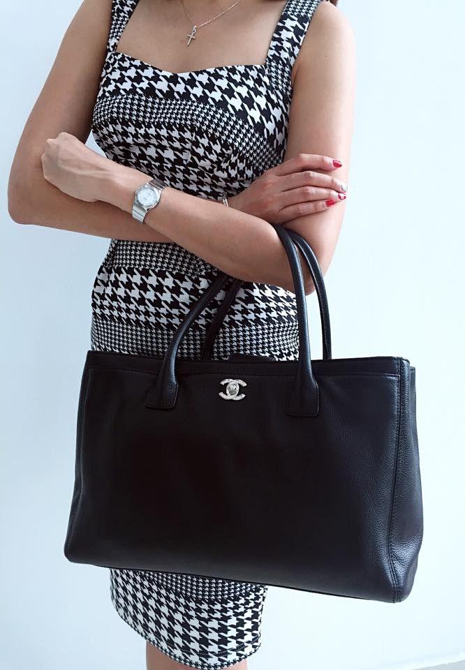 56757c2b7e9c Chanel Black Cerf Tote Bag