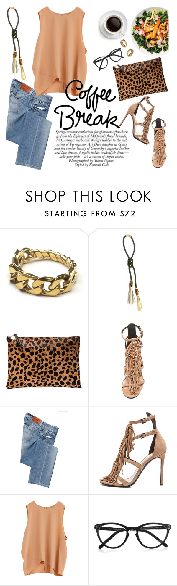 """""""Coffee break"""" by punnky ❤ liked on Polyvore featuring Clare V., Barbara Bui, Salsa and Selima Optique"""