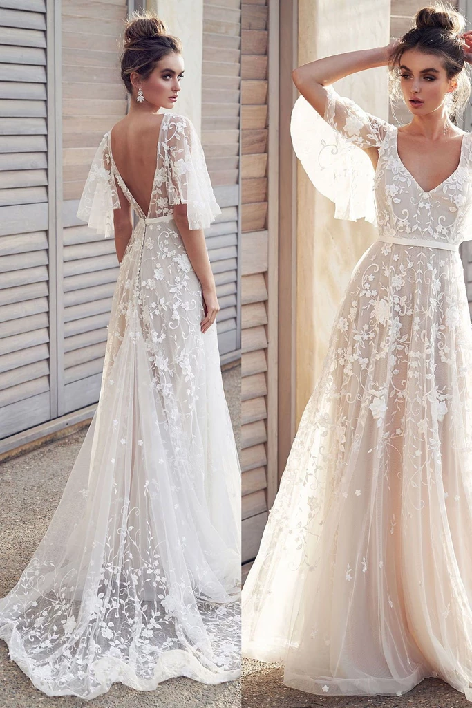 Ivory V Neck Beach Wedding Dresses with Lace Appliques