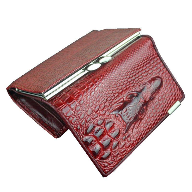 Cuoio libero di trasporto donne mini portafogli, coccodrillo 3D mini borsa all'ingrosso 2014 nuova moda donna portafogli del titolare della carta