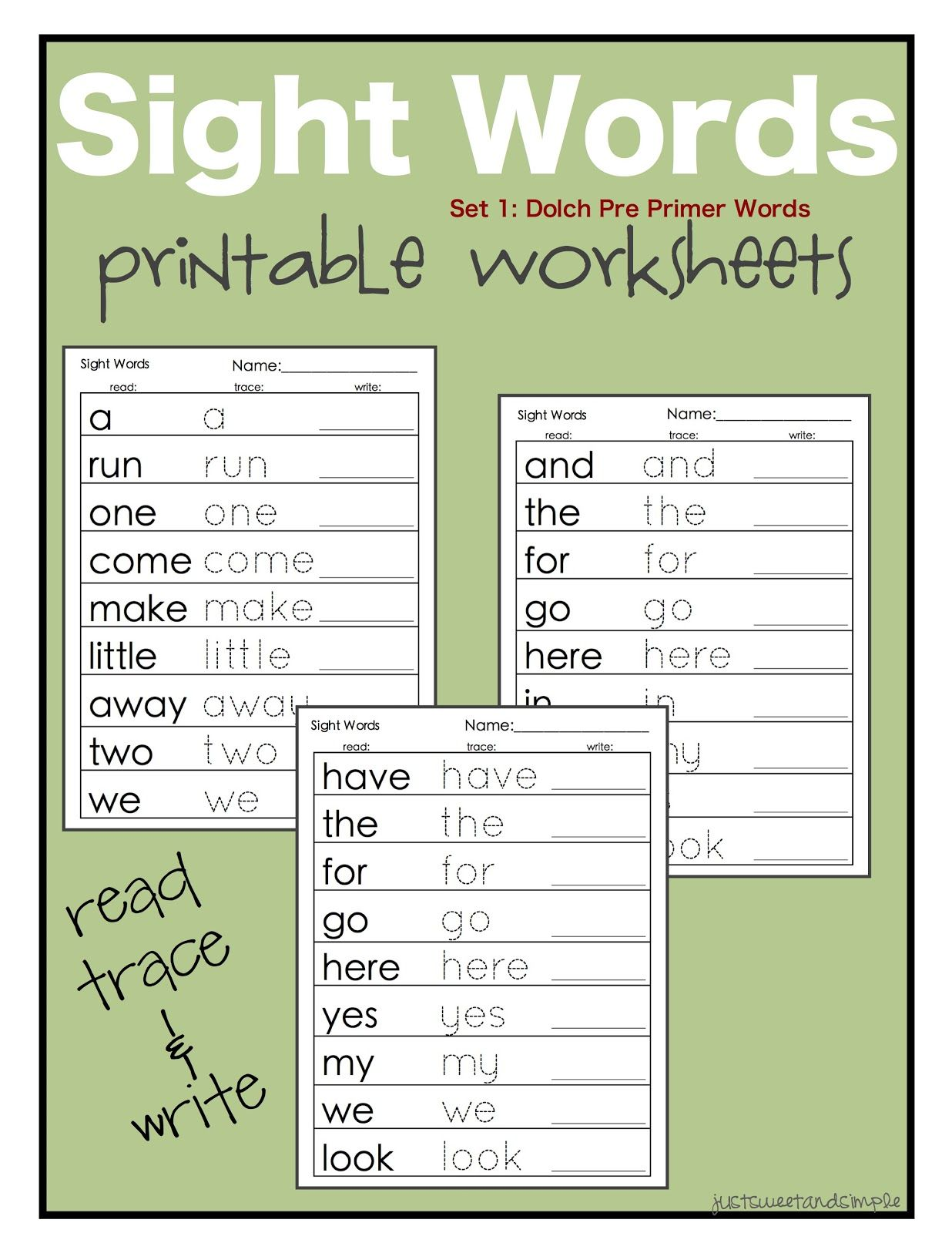 Just Sweet And Simple Preschool Practice Printable Dolch Site Word Worksheets