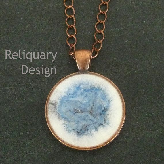 Painted resin pendant necklace with copper by ReliquaryDesign