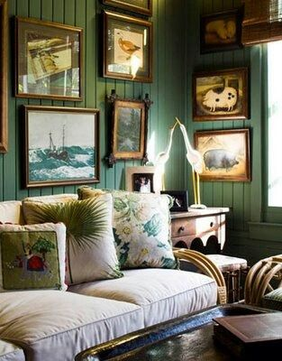 Vintage Florid Style Green Rooms Decor Green Library
