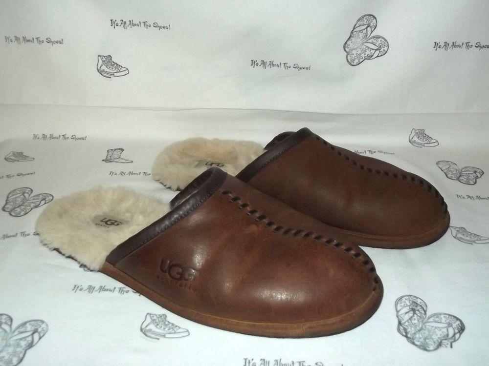 1fd445a3986 UGG AUSTRALIA Scuff Deco Brown Leather/Sheepskin Slippers Mens Size ...