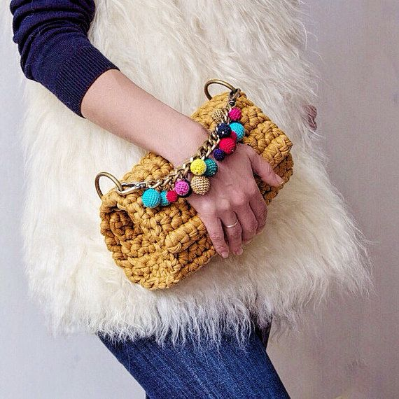 Bag handle clutch handle flap bag crochet bag by Sevirikamania #crochetelements