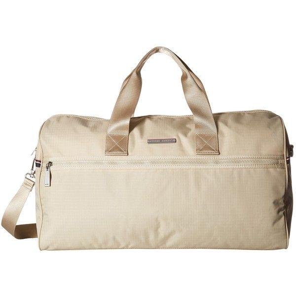 Tommy Hilfiger Jasper - Ripstop Nylon Weekender (Khaki) Messenger Bags (6.520 RUB) ❤ liked on Polyvore featuring men's fashion, men's bags, khaki and mens weekender bag