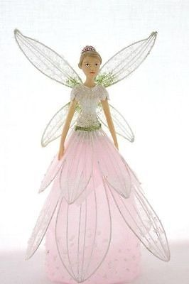 GISELA GRAHAM CHRISTMAS RESIN SILVER SHEER FABRIC FAIRY ANGEL DECORATION