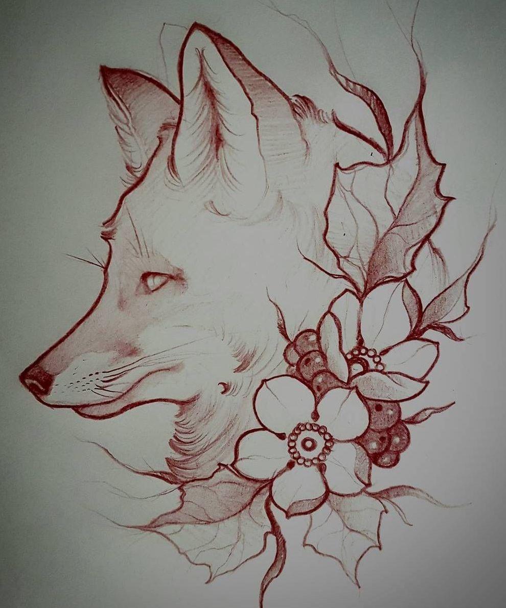 эскиз тату лисы с цветами и ягодами Tattoo эскиз тату идеи для