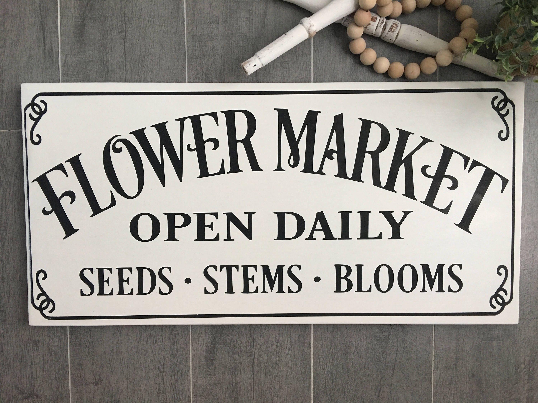 Flower Market Sign - Farmhouse Decor - Fresh Flowers Sign - Summer ...