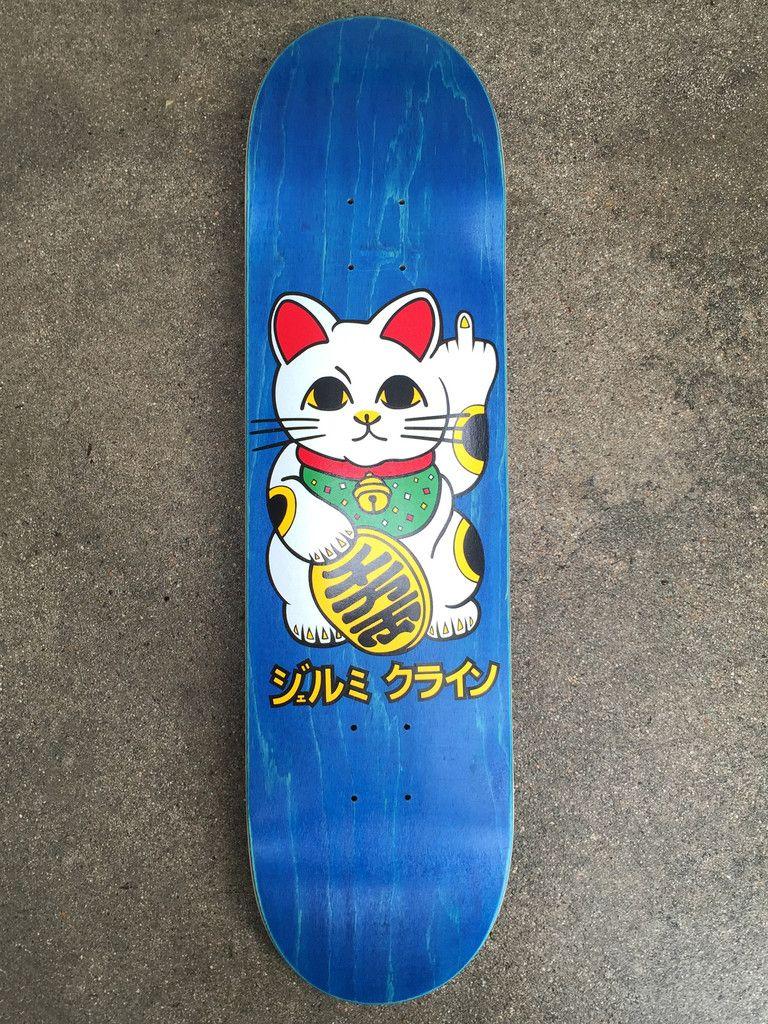 jeremy klein unlucky cat silk screened skateboard BLUE 8.25 X 32.25