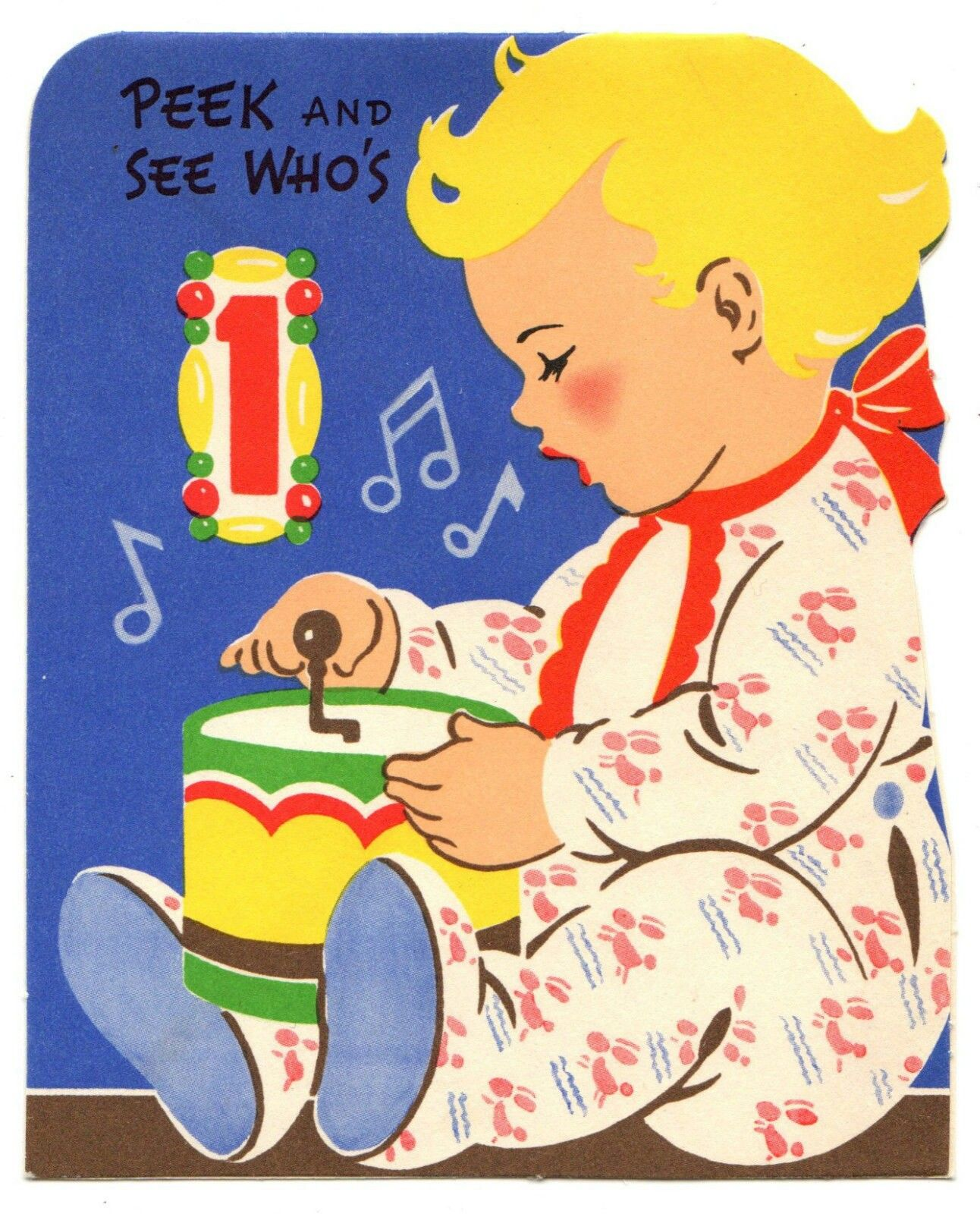 Baby playing with toy vintage birthday cards kids