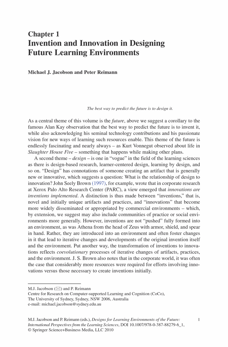 Design For Learning Environment Of The Future International Perspective From Science Michael Jacobson Springer Writing Service Determination Essay