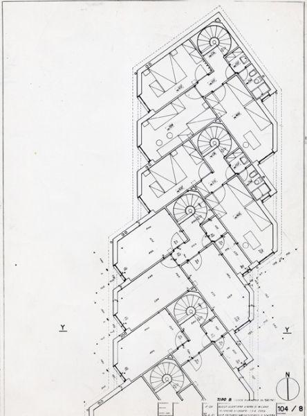 Franco albini quartiere ina casa a cesate pianta del for Progettista del piano di casa