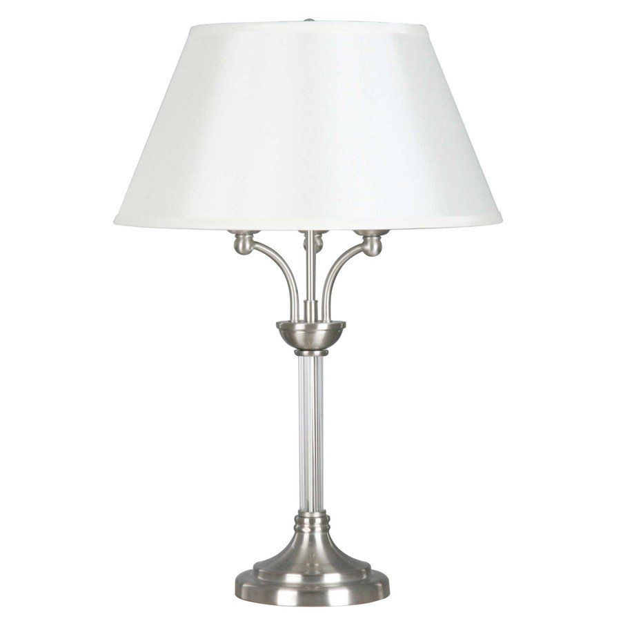 Dsi 23 1 4 In 3 Light Brushed Nickel Table Lamp With Cream Shade Lowe S Canada Nickel Table Lamps Table Lamp Lamp
