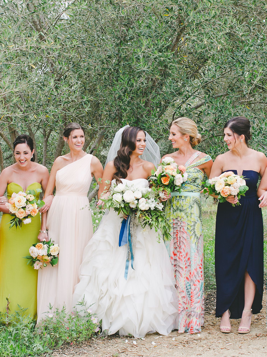 Mismatched Colors And A Coordinating Print Bridesmaid Dresses