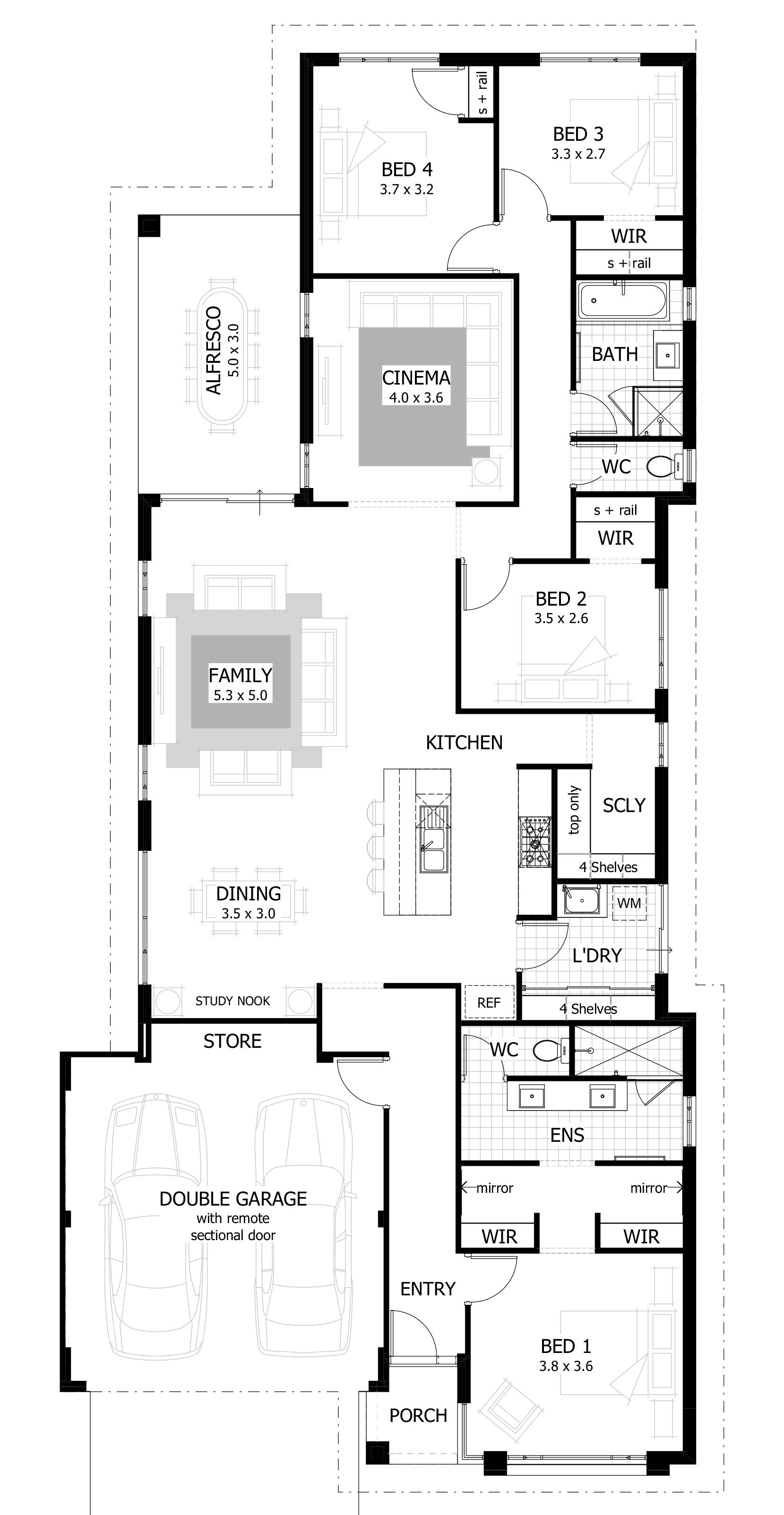 12 Metre Wide Home Designs Celebration Homes Single Storey House Plans Flat House Design House Plans