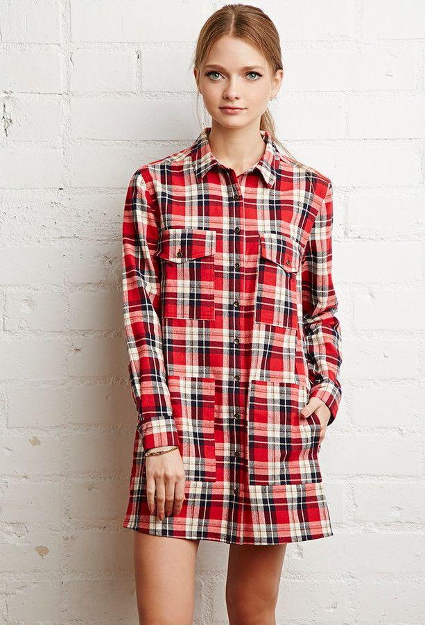 Tartan Plaid Shirt Dress | Christmas + Holiday Looks | Pinterest
