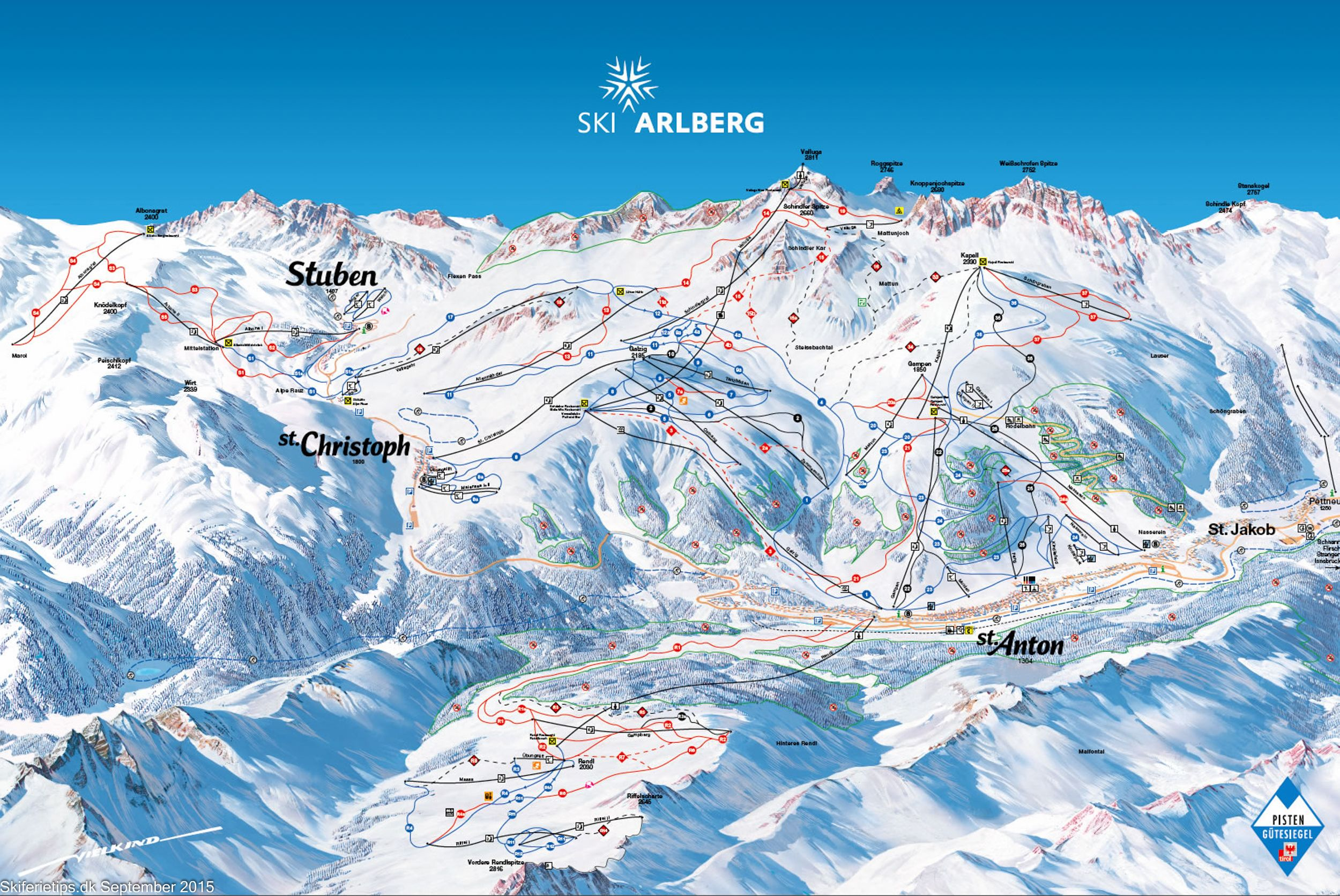 Updated Sankt Anton Piste Map skiing See high resolution