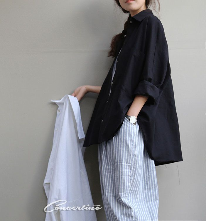 Women black linen shirt Long sleeve shirt large size flax shirt casual loose shirt linen top loose style plus size top Natural linen T-shirt by Concertino on Etsy