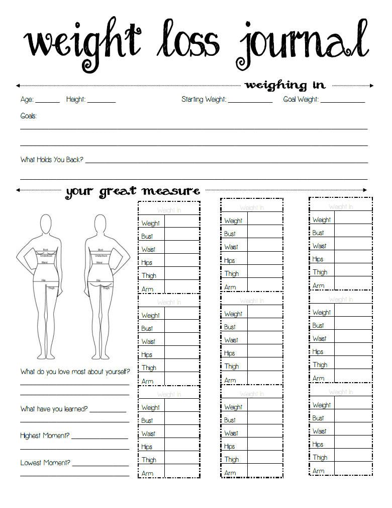 also printable body measurement chart for weight loss rh masinky